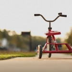 Red Ride Retro Toy Tricycle Childhood Fun